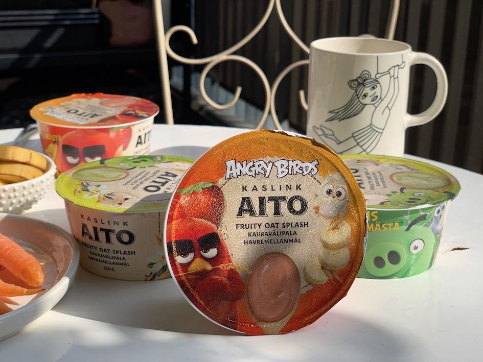 kaslink, kauragurtti, Angry Birds, jogurtti, gluteeniton, maidoton, vegaaninen, sokeriton