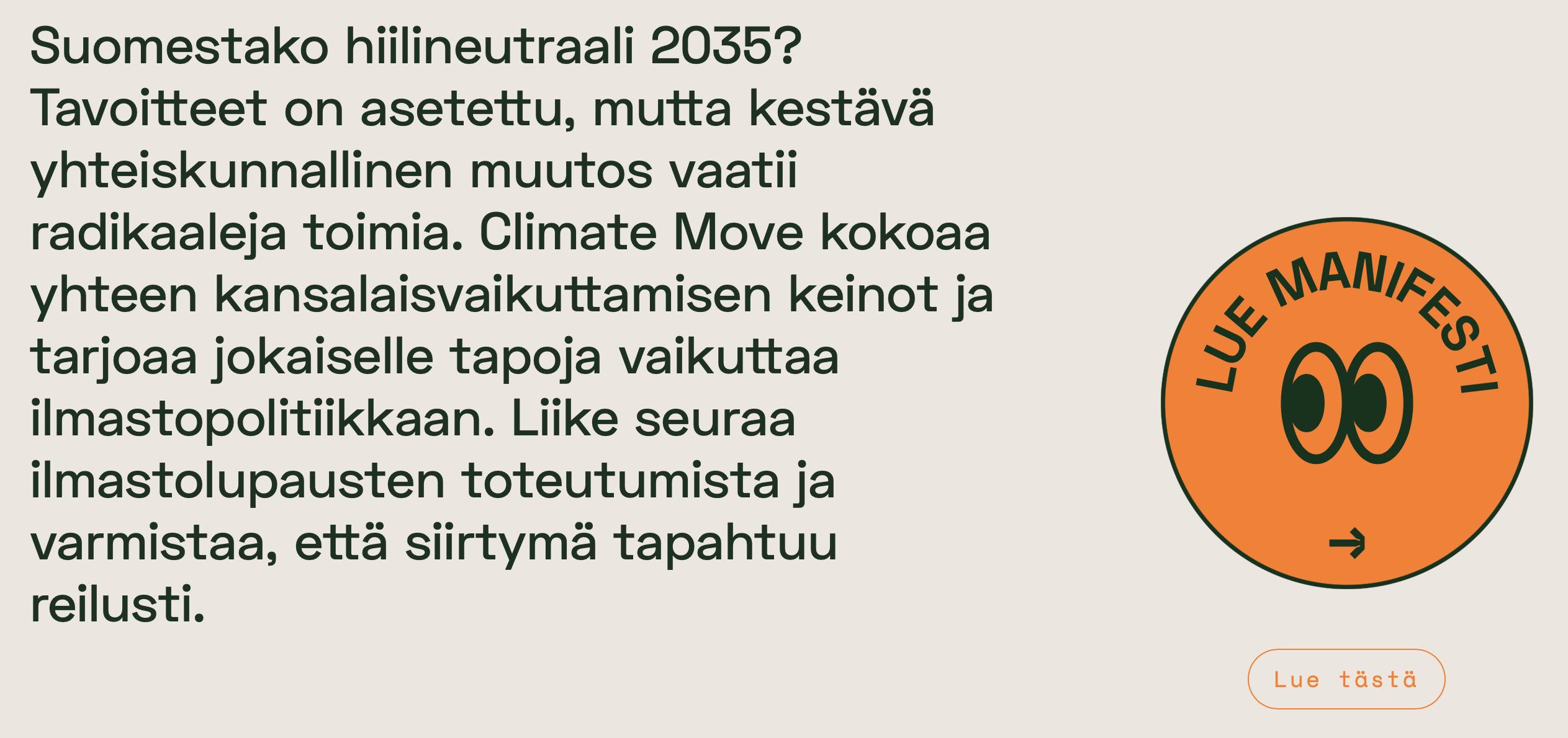 climate move, ilmastonmuutos, ilmasto, aktivistmi, hiilineutraali